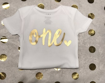 First Birthday Onesie, One With Heart, Birthday Shirt, Customize for any age