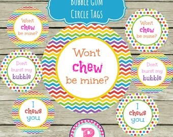 Kid Valentine's Day Bubblegum Tags I chews you Won't chew be mine Rainbow Chevron Instant Download