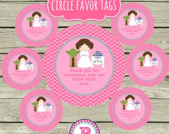 Pink Star Wars Party Favor Tags Circle Printable Pink & Gray Instant Download Matching Party Supplies Treat Bags Thank You Yoda Best Chevron