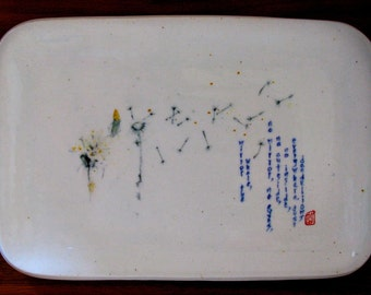 "Zen Buddhist Poetry-Painting on Porcelain - ""Dandelions"""