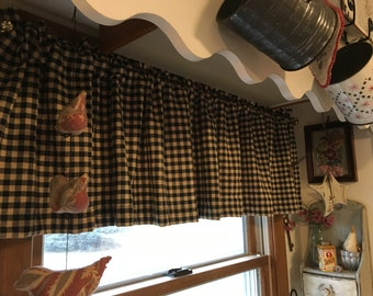 Country Curtains Primitive Black And Tan Check Valance Farmhouse