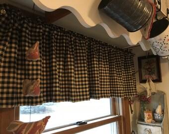 Farmhouse Curtains/Handmade Curtain /Primitive Valance /Black and Tan Check Valance/  country curtains window valance