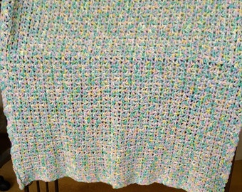 Multi-colored lacy baby blanket