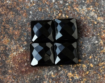 Faceted Black Onyx Square shape all sizes available  available in sizes: 8,9,10,11,12,13,14,15,16,17,18 mm, other sizes made on order.