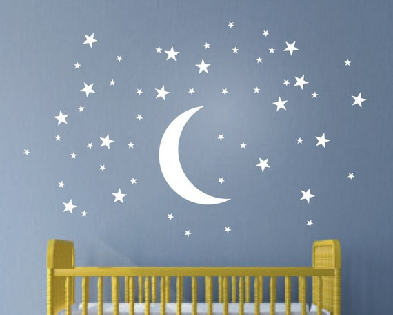 Moon and Stars Wall Decal Set - Nursery Room Decor - Moon Wall sticker - Nursery Wall Decal Set - Peel and stick Wall Decal