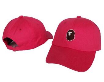 pink bape baseball cap