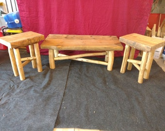 Log Furniture; Coffee Table & End Tables