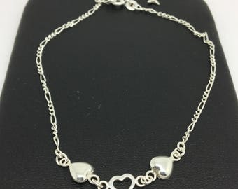 925 Sterling Silver 3 Hearts Anklet