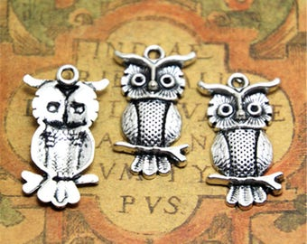 10pcs Owl charms silver tone owls charms pendants 34x17mm ASD2324