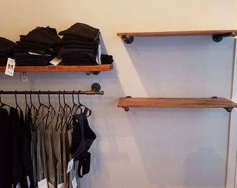 Set of 2 reclaimed wood shelves! Reclaimed Wood Shelves with Industrial Piping Brackets - Shipping Included!