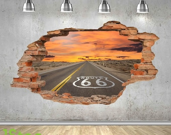 Route 66 Wall Sticker 3d Look - Bedroom Lounge Nature Wall Decal Z450