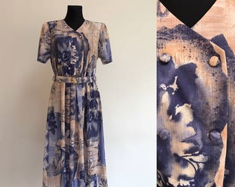 1980s Vintage Dress Floral Summer Blue Beige Flower Batik Dress Romantic ColorBlock Dress Button up Sleveless Church Midi Dress Size Large