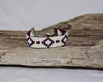 Woven bracelet, cuff of fine pearls of rockery 10/0, boho style