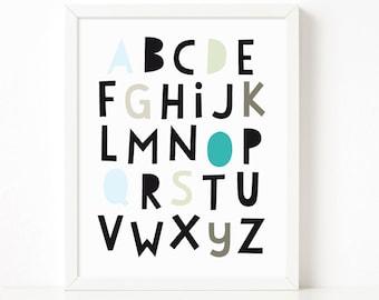 Alphabet Poster, Abc Poster, Abc nursery print, Scandinavian print, nursery decor, nursery art, kids poster, instant download