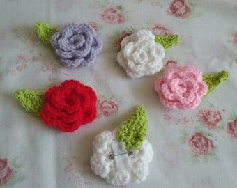 Crochet Flower Brooch Set of 4/ Rose Brooch