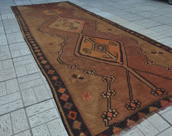 Vintage Large kilim rug. Turkish vintage kilim. Turkish kilim rug. Free shipping. 12.9 x 4.9 feet.