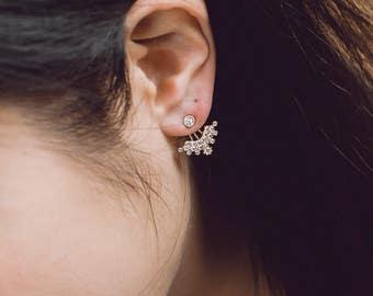 925 sterling silver, Gold plated  ear jacket, Arc ear jacket, Arc shaped ear jacket, CZ ear jacket, Korean fashion, Korean jewelry, Silver e