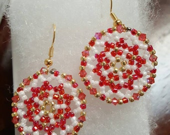Beautiful Pink And Gold Handmade Beaded Earrings. Great for everyday use, holiday jewelry or any special occasion!!