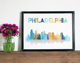 Philadelphia Skyline - Philly Skyline Wall Art - Philadelphia Art, Philly Wall Art, Philly Skyline Art, Skyline Artwork, Philly Artwork
