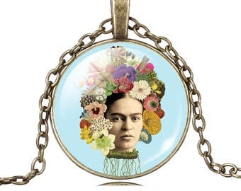 Frida Kahlo Flores Frida necklace pendant image of Frida turquoise glass cabochon