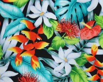 Hawaii Plumeria multi hawaiian fabric fabric flowers beach surf beach aloha flowers tiki cotton fabric flowers honolulu