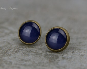 Earrings Studs in Dark Blue, 10 mm / hand painted earplugs - minimalistic earrings, everyday jewelry