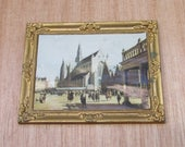 Vintage 1970s Plastic Dolls House Miniatures  Picture in Gold Plastic Frame