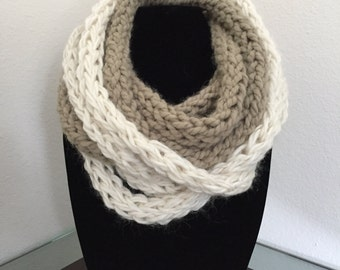 Wool Scarf - Knit Scarf - Woman's Knit Scarf - Gift Idea - Christmas Gift - Rope Scarf - Bi-color Scarf
