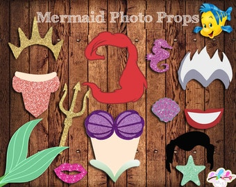 Ariel Photo Booth Props , The little mermaid Birthday Party