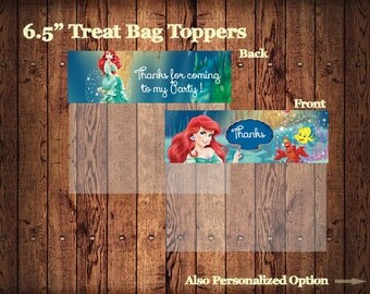 The Little Mermaid Party Goodie Bag Topper , Ariel Treat Bag printable topper