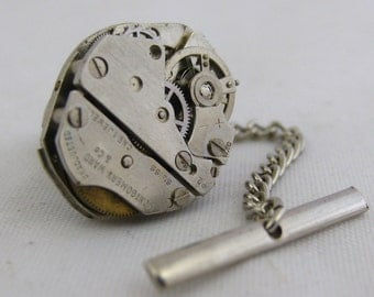 Vintage Steampunk Watch Movement TIE TACK Tie Clip Mixed Media Assemblage Jewelry L3