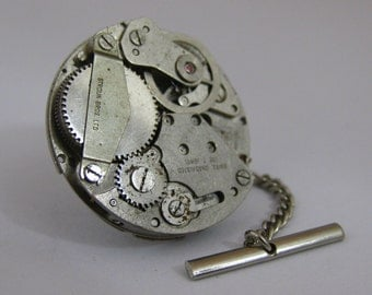 Vintage Steampunk Watch Movement TIE TACK Tie Clip Mixed Media Assemblage Jewelry L13