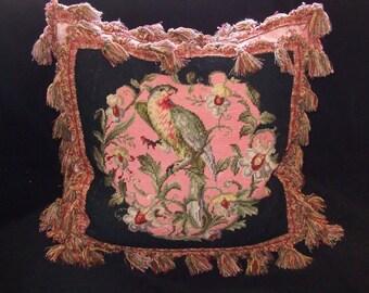 Antique Parrot Needlepoint Decorator Pillow