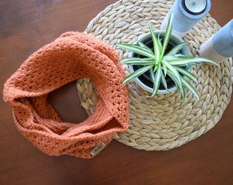 crochet scarf, loop, handmade scarf, orange
