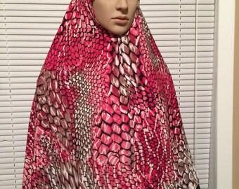 Pink Animal Print Long Khimar Hijab Scarf High-Low