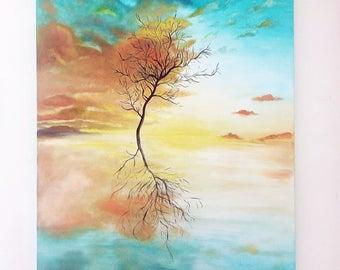Abstract Landscape Sunset, Beautiful Clouds Oil Painting, Original Large Canvas Landscape, Unique Sunset Landscape, Tree Landscape Oil Art