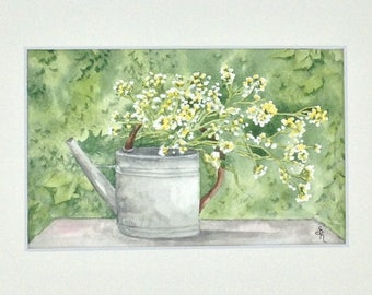 """Table watercolor """"a day in the country"""" the watering can"""