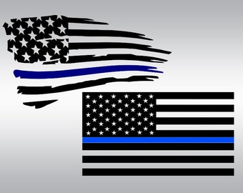 American flag thin blue line SVG Clipart Cut Files Silhouette Cameo Svg for Cricut and Vinyl File cutting Digital cuts file DXF Png Pdf Eps