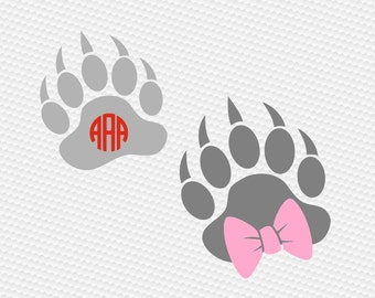 Paw print bear bow SVG Clipart Cut Files Silhouette Cameo Svg for Cricut and Vinyl File cutting Digital cuts file DXF Png Pdf Eps