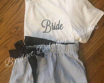 Bride/Bridesmaids monogrammed shorts/tee SET, boxers, sleep shorts