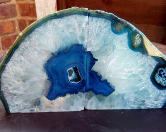 Blue Agate Bookend Candle Tea-light Holder Crystal Healing Relaxation Meditation