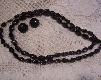 Black Glass Graduated Beaded Necklace and Earring Set