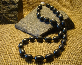 Shungite necklace oval beads from Karelia.