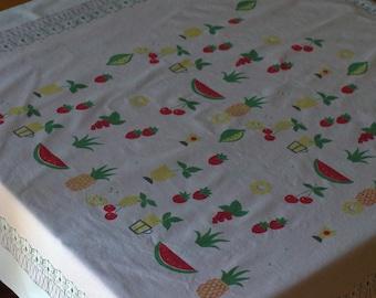 SALE*** Vintage Summer Fruits Tablecloth