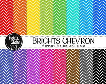 Buy 1 Get 1 Free!! 16 Bright Chevron Digital Paper • Rainbow Digital Paper • Commercial Use • Instant Download • #CHEVRON-112-2-B
