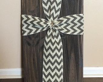 Large Wooden Chevron Burlap Cross