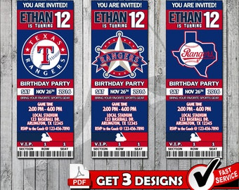 Baseball Texas Rangers Printable Invitation Tickets - Digital files only