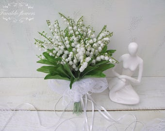 Summer wedding artificial silk flowers lilly of the valley bridal posy bouquet rustic romantic woodland country white