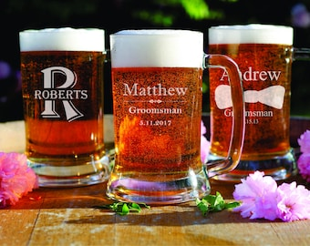 2 Beer Mugs - Engraved Gifts - Groomsman - Man Cave Gift - Gift for Him - Dad - Husband - Best Man - Wedding Favors - Father Gift - Home Bar