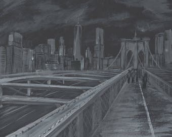 Brooklyn Bridge, New York, Black and White, Acrylic, America, Original Artwork